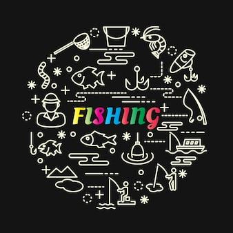 Gradiente colorido de pesca com conjunto de ícones de linha