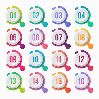 Gradiente colorido de ponto de marcador numérico com caixa de texto