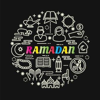Gradiente colorido de ramadã com conjunto de ícones de linha
