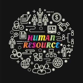 Gradiente colorido de recursos humanos com conjunto de ícones de linha