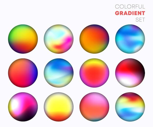 Gradiente colorido definido com o design de plano de fundo do círculo desfocado. ilustração vetorial.
