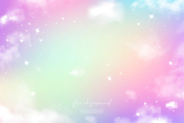 Gradiente colorido do céu unicórnio