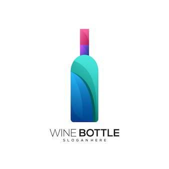 Gradiente colorido do logotipo da garrafa de vinho