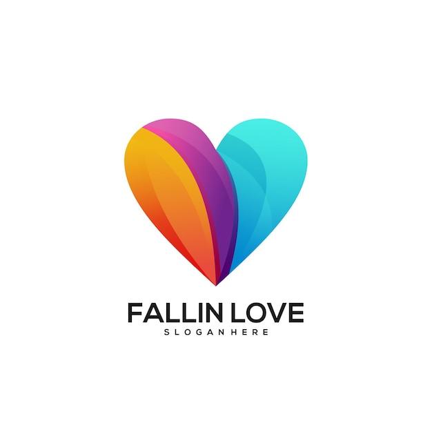 Gradiente colorido do logotipo do amor