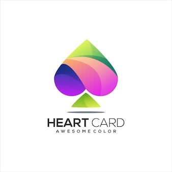 Gradiente colorido do logotipo do cartão de jogo em forma de coração