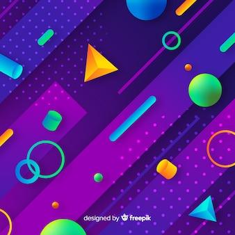 Gradiente colorido fundo de formas 3d