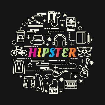 Gradiente colorido hipster com conjunto de ícones de linha