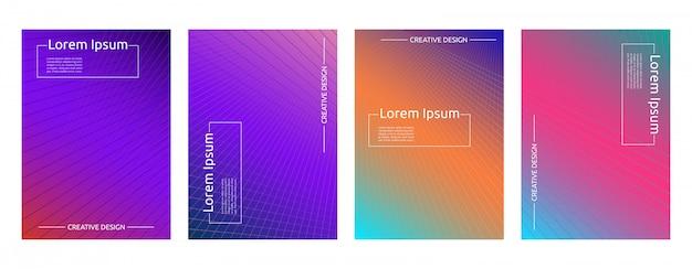 Gradiente colorido linha geométrica mínima padrão fundo modelo capa