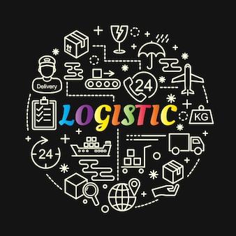 Gradiente colorido logístico com conjunto de ícones de linha