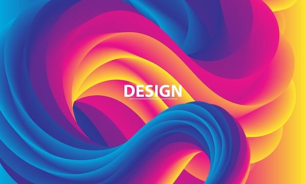 Gradiente colorido. onda de fluido 3d. cor vibrante. fundo líquido.