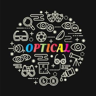 Gradiente colorido óptico com conjunto de ícones de linha