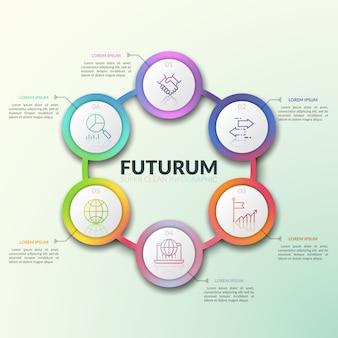 Gradiente colorido redondo diagrama com 6 elementos circulares interconectados, números e pictogramas de linha fina dentro deles e caixas de texto.