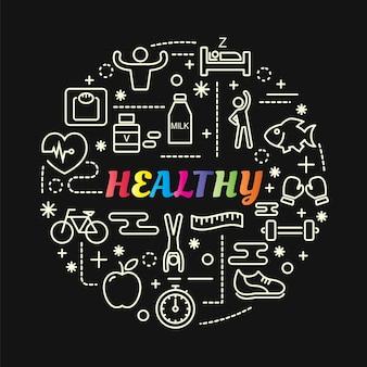 Gradiente colorido saudável com conjunto de ícones de linha