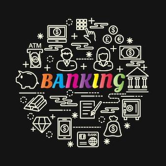Gradiente de bancário colorido com conjunto de ícones de linha