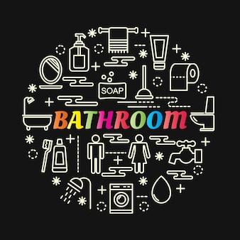 Gradiente de banheiro colorido com conjunto de ícones de linha
