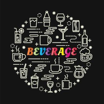 Gradiente de bebida colorida com conjunto de ícones de linha
