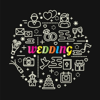 Gradiente de casamento colorido com conjunto de ícones de linha