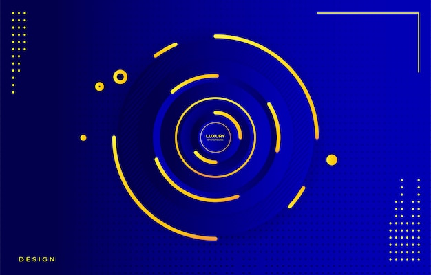 Gradiente de círculo azul e fundo de ouro de luxo