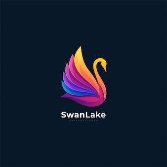 Gradiente de cisne de logotipo colorido.