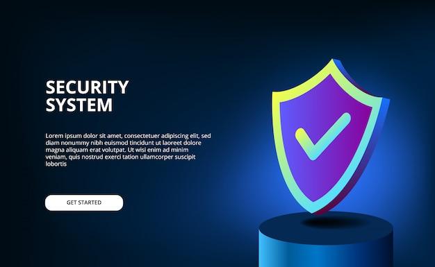Gradiente de cor 3d moderna com escudo para segurança do sistema, antivírus e proteção de dados