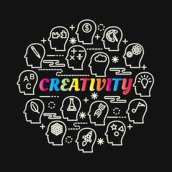 Gradiente de criatividade colorido com conjunto de ícones de linha