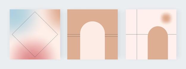 Gradiente de desfoque com ilustração de formas geométricas