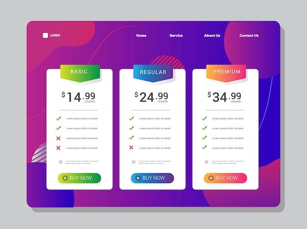 Gradiente de design de iu da tabela de preços e elemento vibrante para página de destino ou layout de aplicativos