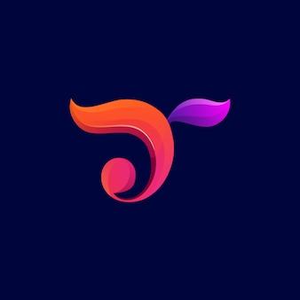 Gradiente de design de logotipo de folha letra t