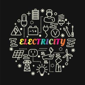 Gradiente de eletricidade colorida com conjunto de ícones de linha