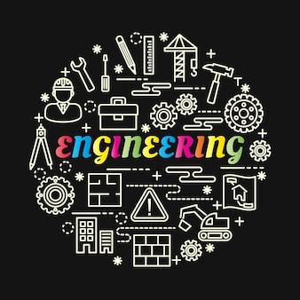 Gradiente de engenharia colorida com conjunto de ícones de linha