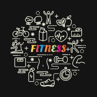Gradiente de fitness colorido com conjunto de ícones de linha