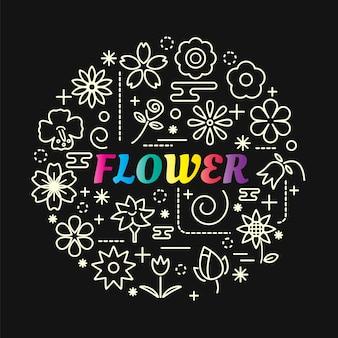 Gradiente de flor colorida com conjunto de ícones de linha