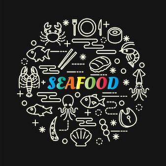 Gradiente de frutos do mar coloridos com conjunto de ícones de linha