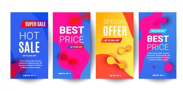 Gradiente de gradiente líquido brilhante ondas venda banner para histórias de redes sociais
