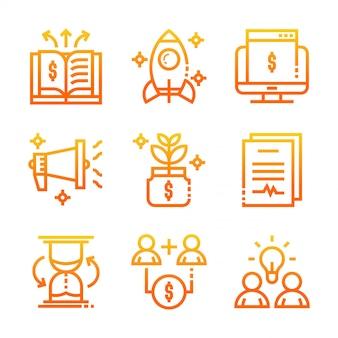 Gradiente de ícones de negócios