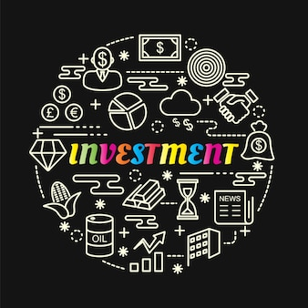 Gradiente de investimento colorido com conjunto de ícones de linha