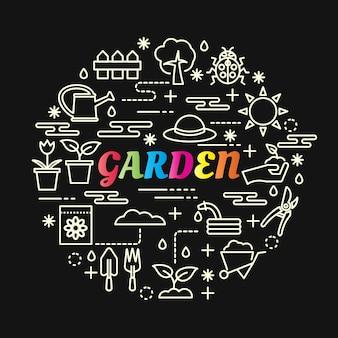 Gradiente de jardim colorido com conjunto de ícones de linha