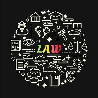 Gradiente de lei colorida com conjunto de ícones de linha