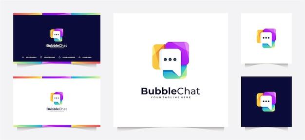 Gradiente de logotipo abstrato bolha chat e cartão de visita