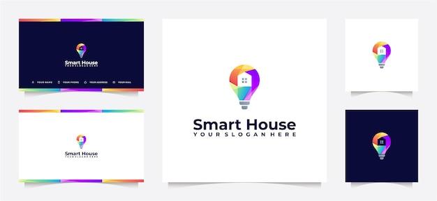 Gradiente de logotipo colorido de casa inteligente e cartão de visita