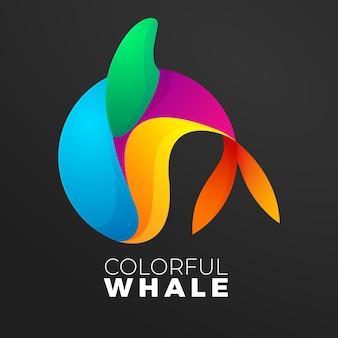 Gradiente de logotipo colorido de peixe-baleia