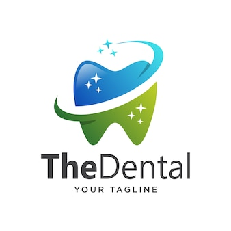 Gradiente de logotipo dental simples limpo