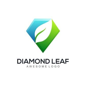 Gradiente de logotipo elegante e colorido de folha de diamante