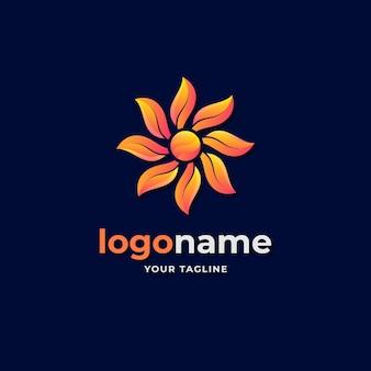 Gradiente de logotipo geométrico de flor de sol abstrato para boutique e beleza
