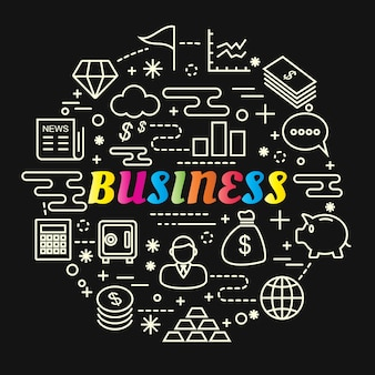 Gradiente de negócios colorido com conjunto de ícones de linha