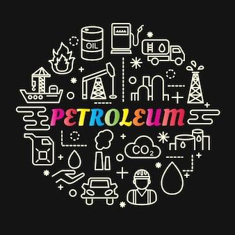 Gradiente de petróleo colorido com conjunto de ícones de linha