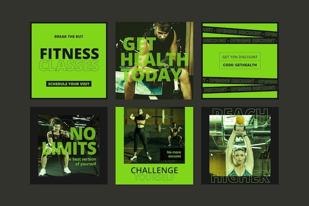Gradiente de saúde e fitness postagens coleção com foto