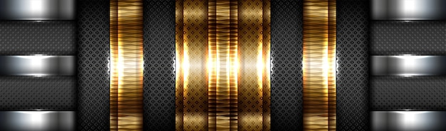 Gradiente de tecnologia abstrata ouro fosco com fundo preto de camada de material