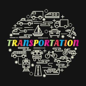 Gradiente de transporte colorido com conjunto de ícones de linha
