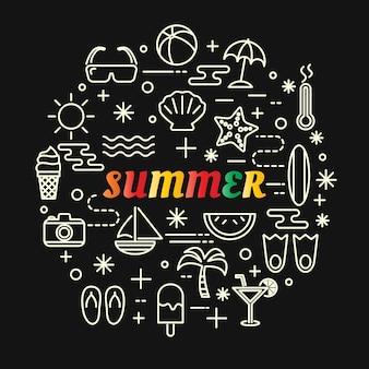 Gradiente de verão colorido com conjunto de ícones de linha